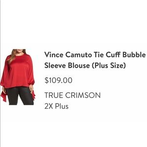 Vince Camuto red blouse with dramatic sleeve 2x